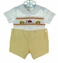 "<img src=""http://site.grammies-attic.com/images/blue-sold-1.gif""> NEW Rosalina Yellow Checked Button On Shorts Set with Schoolbus Embroidery"