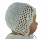 NEW Sarah Louise White Crocheted Bonnet with Rosebud Trim