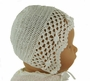 "<img src=""http://site.grammies-attic.com/images/blue-sold-1.gif""> NEW Sarah Louise Pale Ivory Crocheted Bonnet with Rosebud Trim"
