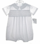 NEW Petit Ami White Smocked Romper with Fagoted Collar
