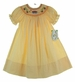 """<img src=""""http://site.grammies-attic.com/images/blue-sold-1.gif""""> NEW Rosalina Yellow Checked Bishop Smocked Dress with Schoolbus Embroidery"""