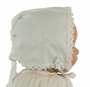 NEW White Keepsake Hanky Bonnet with Shamrock Embroidery and Cluny Lace Trim