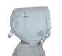 NEW White Linen Keepsake Hanky Bonnet with Cross Embroidery and Scalloped Edge