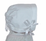 NEW Linen Keepsake Hanky Bonnet in White or Ivory with Embroidered Cross