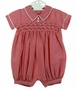 "<img src=""http://site.grammies-attic.com/images/blue-sold-1.gif""> NEW Will'Beth Red Checked Smocked Romper with White Embroidery"