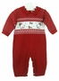 NEW Will'Beth Red Knit Romper with Holiday Bears