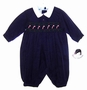 "<img src=""http://site.grammies-attic.com/images/blue-sold-1.gif""> NEW Sarah Louise Navy Smocked Romper with Candy Cane Embroidery"