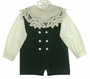 "<img src=""http://site.grammies-attic.com/images/blue-sold-1.gif""> NEW Victorian Heirlooms Green Velvet Romper with Ivory Battenburg Trimmed Portrait Collar"