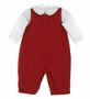 "<img src=""http://site.grammies-attic.com/images/blue-sold-1.gif""> NEW Petit Ami Red Corduroy Romper with White Embroidered Shirt"