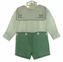NEW Chabre Green Checked Button on Shorts Set with Holiday Embroidered Portrait Collar