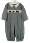 "<img src=""http://site.grammies-attic.com/images/blue-sold-1.gif""> NEW Royal Child Black Checked Smocked Romper with Holiday Train Embroidery"