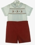 "<img src=""http://site.grammies-attic.com/images/blue-sold-1.gif""> NEW Rosalina Red Corduroy Smocked Button on Shorts Set with Reindeer Embroidery"