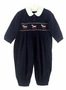 NEW Sarah Louise Navy Corduroy Smocked Romper with Carousel Embroidery