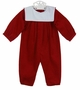NEW Bailey Boys Red Pinwale Corduroy Romper with White Portrait Collar