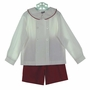 "<img src=""http://site.grammies-attic.com/images/blue-sold-1.gif""> NEW Bailey Boys Red Pinwale Corduroy Shorts Set with White Shirt"