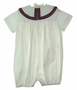 NEW Victorian Heirlooms White Romper with Red Plaid Portrait Collar