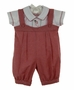 "<img src=""http://site.grammies-attic.com/images/blue-sold-1.gif""> NEW Will'Beth Red and White Checked Romper with Holiday Embroidery"