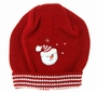 NEW Will'Beth Red Knit Hat with White Striped Border and Snowman Applique