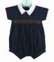 NEW Willbeth Navy Cotton Smocked Romper with White Collar
