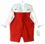 NEW Rosalina Red Reversible Shortall and Shirt Set with Removable Holiday Collar
