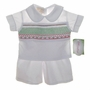 NEW Rosalina White Shorts Set with Red and Green Smocking