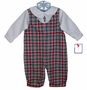 NEW Petit Ami Red and Green Plaid Romper with Nutcracker Embroidery