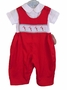 "<img src=""http://site.grammies-attic.com/images/blue-sold-1.gif""> NEW Rosalina Red Smocked Longall with Candy Cane Embroidery"