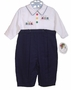 NEW Sarah Louise Navy and White Romper with Train Embroidery