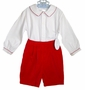 NEW Sophie Dess Red, Green, or Navy Velvet Shorts Set with Contrasting Trimmed White Shirt