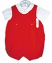 NEW Feltman Brothers Vintage Style Red Dotted Velvet Shortall with White Shirt