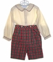 NEW Sophie Dess Red and Green Plaid Button On Shorts Set with Cream Shirt
