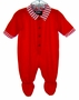 NEW Red Knit Footed Pajamas with Red Striped Trim