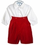 NEW Sophie Dess Red or Navy Velvet Pants Set with White Shirt
