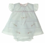 "<img src=""http://site.grammies-attic.com/images/blue-sold-1.gif""> NEW Will'Beth White Diaper Set and Matching Bonnet with Pink Embroidery"