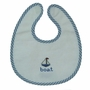 NEW Blue and White Bib and Rattle Set with Cross Stitched Boat