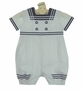 NEW Sarah Louise White and Navy Sailor Romper with Matching Captains Hat