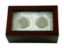 "<img src=""http://site.grammies-attic.com/images/blue-sold-1.gif""> NEW Wood Keepsake Gift Box with Silverplate First Curl and First Tooth Holders"
