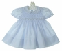 NEW Feltman Brothers Pale Blue Smocked Dress with Fagoted Collar and Cuffs