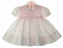 NEW Feltman Brothers Pale Pink Smocked Dress with Fagoted Collar and Cuffs