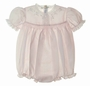 NEW Feltman Brothers Pink Smocked Bubble with Lace and Embroidery