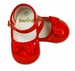 "<img src=""http://site.grammies-attic.com/images/blue-sold-1.gif""> NEW Red Patent Leather Mary Jane Style Baby Shoes with Red Satin Bows"