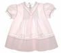 NEW Feltman Brothers Pale Pink Baby Dress with Pintucks, Embroidery, and Lace Insertion