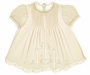 NEW Feltman-Brothers Palest Yellow Baby Dress with Lace Insertion and Embroidery