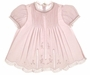 NEW Feltman-Brothers Pale Pink Baby Dress with Lace Insertion and Embroidery
