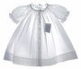 "<img src=""http://site.grammies-attic.com/images/blue-sold-1.gif""> NEW Feltman Brothers White Smocked Daygown with Pink Embroidery"