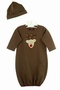 NEW Bailey Boys Red and Green Striped Baby Gown with Reindeer Applique