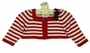 NEW Sarah Louise Red Striped Bolero Sweater with Navy Bow