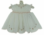 NEW Sarah Louise Ivory Smocked Dress with Peach Rosebuds, Angel Sleeves, and Scalloped Hem