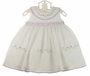NEW Sarah Louise White Sleeveless Smocked Dress with Pintucks and Lavender Rosebuds