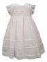 NEW Will'Beth Pale Pink Smocked Dress with White Voile Overlay